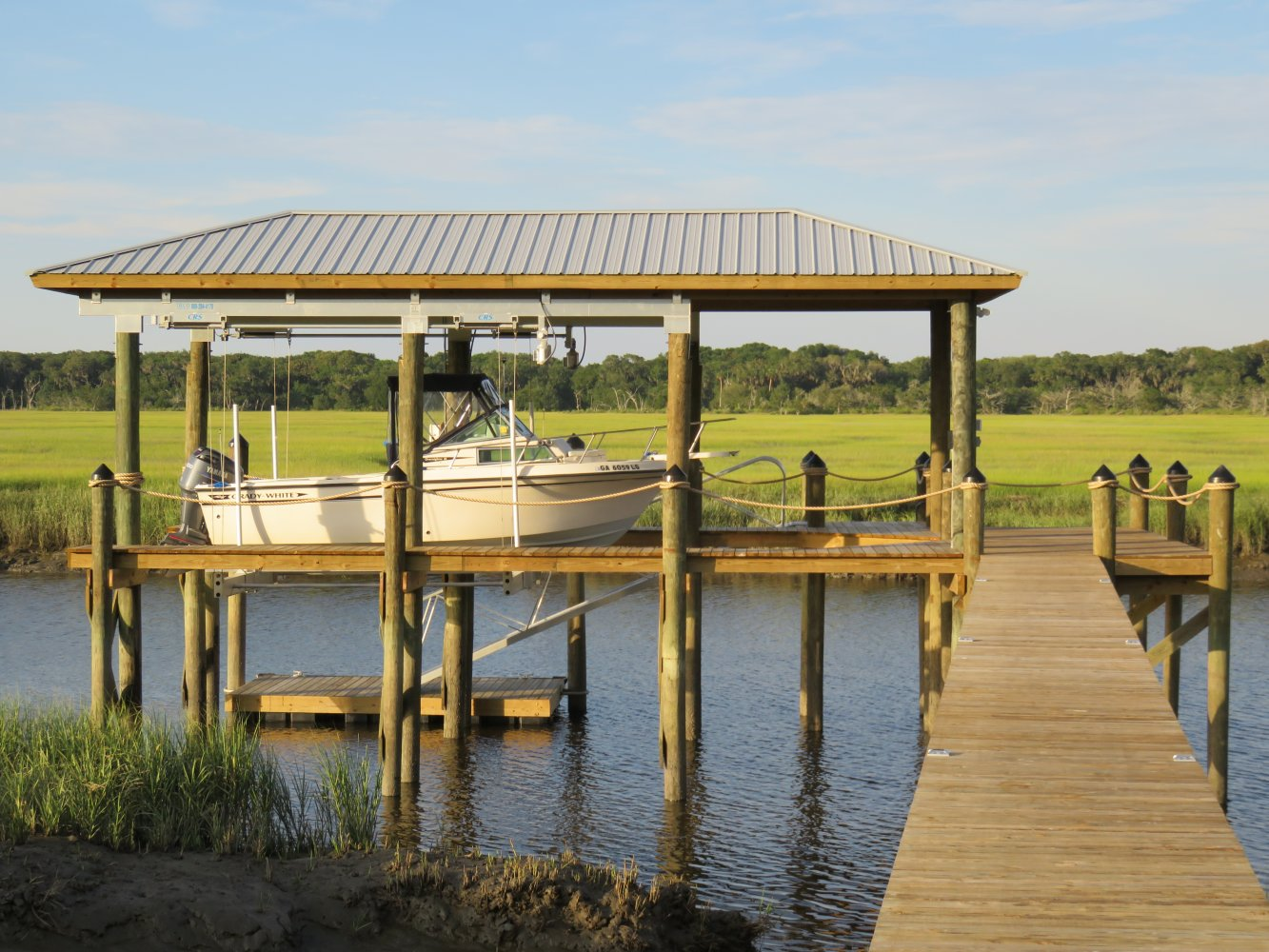 13,000 lb Concept CRS Boathouse Lift with Roof Tabs & Rear Roof Extention