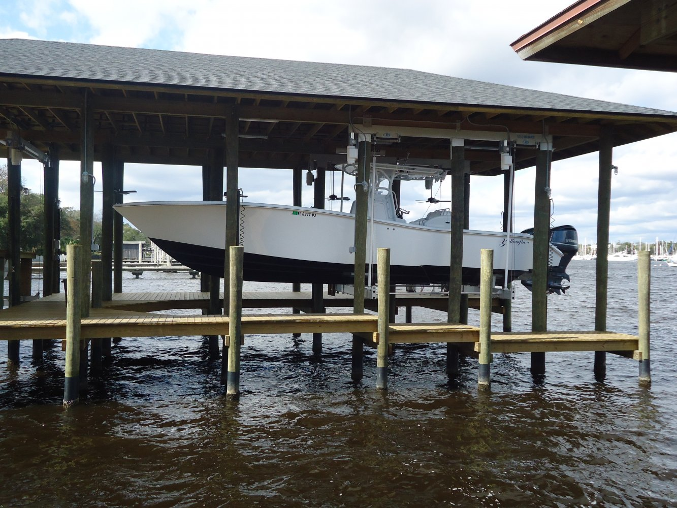 20,000 lb Concept CRS Boathouse Lift with Roof Tabs & Hi-Speed Motors